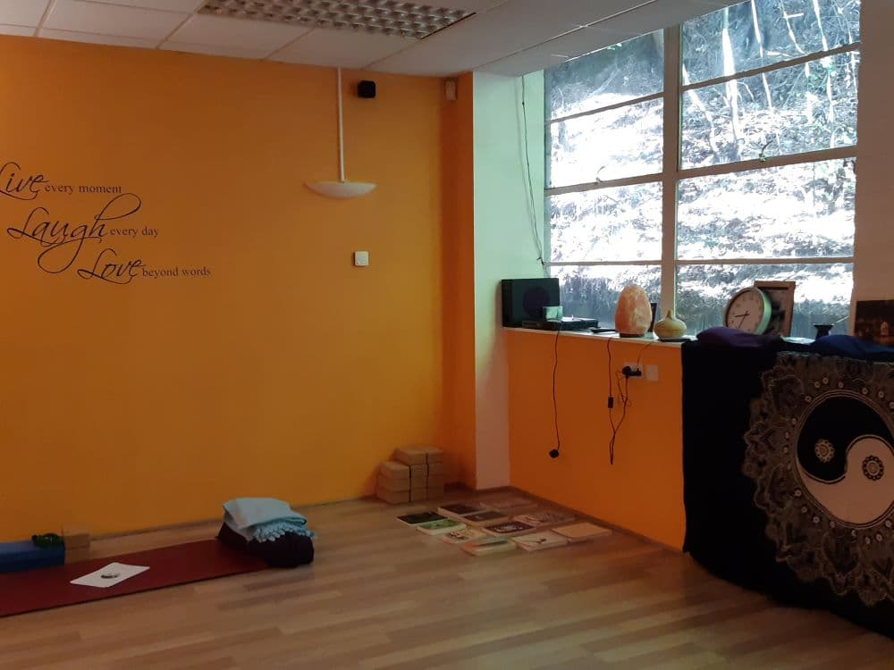 Yoga studio set up for the Yin Intensive Course.